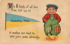 All the Fun Vat iss in Omaha Nebraska~Makes Me Vant to See You~1914 Pennant PC