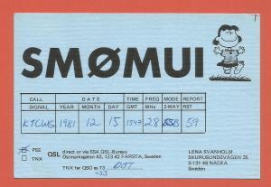 QSL AMATEUR RADIO CARD – NACKA, SWEDEN – 1981 – LUCY