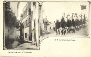 tanzania, ZANZIBAR, Narrow Street next to Africa Hotel, Sultan's Body Guard 1899
