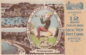 12 Antique Devon Hand Coloured Torquay Incl Pixie Postcard Bundle
