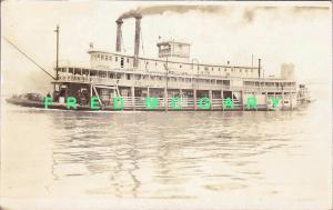 1923 RPPC: Greene Line Steamers 'Tom Greene' Underway With Passengers
