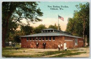 Oshkosh Wisconsin~New Bathing Pavilion~Lady Talks to Boys~Men & Bicycles~1914