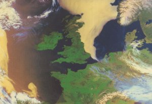 North West Europe From Outer Space Map Astronomy Postcard