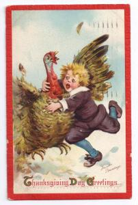 Signed Brundage Thanksgiving Pilgrim Boy Turkey Vintage Embossed Postcard