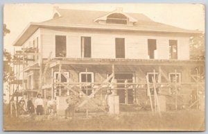 RPPC Construction Crew Stands by Nearly Completed Building~Scaffolds c1910
