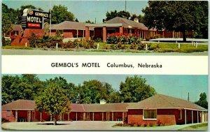 Columbus, Nebraska Postcard GEMBOL'S MOTEL Highway 30 Roadside c1960s Unused