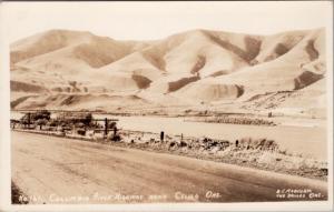Columbia River Highway near Celilo Village Oregon OR Unused RPPC Postcard E25