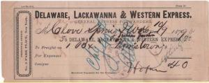 1879 Freight Bill, DELAWARE, LACKAWANNA & WESTERN EXPRESS...