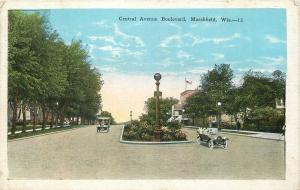 Marshfield Wisconsin~Cars Going Same Way~Central Avenue Boulevard~1920s Postcard