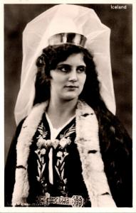 Iceland Native Woman In Traditional Dress Real Photo