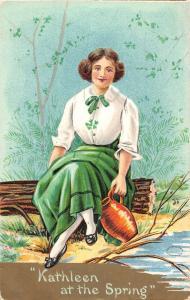 Kathleen At The Spring Irish Woman Chocolate Ad Antique Postcard K670576