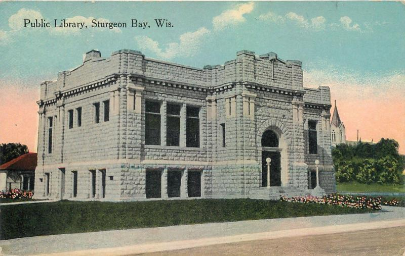 STURGEON BAY, Wisconsin  WI   PUBLIC LIBRARY  ca 1910s    Postcard