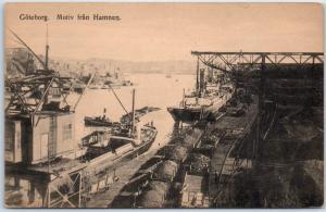Goteborg Gothenburg Sweden Postcard Ship Port Dock Scene Steamer c1910s Unused