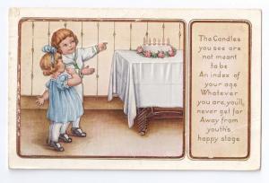 Children Birthday Cake Vintage Whitney Embossed Postcard