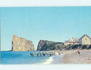 Pre-1980 BEACH SCENE Perce On Gaspe Quebec QC AE9204