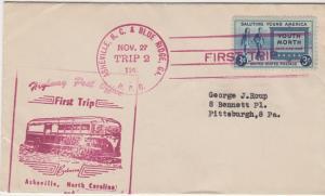 FIRST TRIP HIGHWAY POST OFFICE mail between Asheville, NC & Blue Ridge, GA  1941