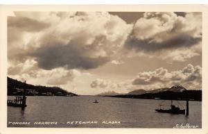 Ketchikan Alaska~Tongass Narrows~Fishing Boat~Bldg along Shoreline~c1930 RPPC