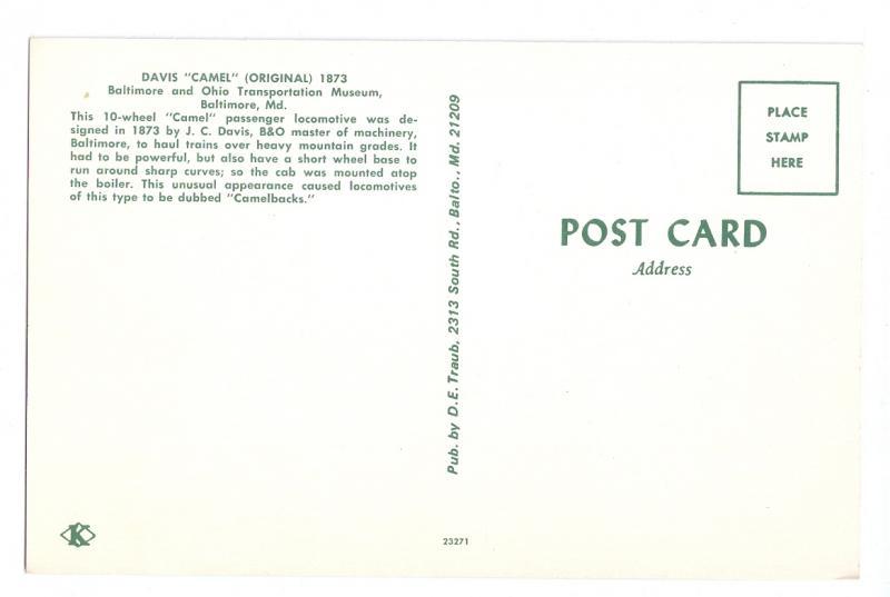 Davis Camel B&O Railroad Museum Camelback RR Postcard Train