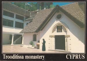 Cyprus Trooditissa monastery priest monk in front postcard