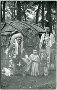 Wisconsin Dells, WI Postcard THE LITTLE EAGLE FAMILY Indian Native Americana
