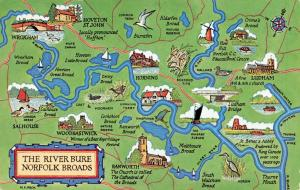 Map Postcard, The River Bure Norfolk Broads by J. Salmon 29S