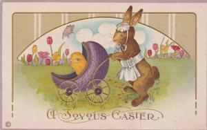 Joyous Easter Greetings Mother Rabbit with Carriage and Chick DB Stetcher Litho