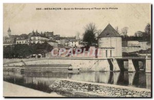 Besancon Old Postcard Quai Strasbourg and Tower Pelota