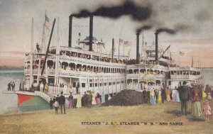 River Steamers J.S. & W.W. and barge , 1900-10s