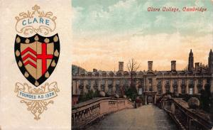 Claire College, Cambridge, England, Great Britain, Early Postcard, Used