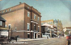 Pawtucket Rhode Island street scene Boys Club horse buggy antique pc Y10853