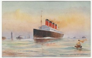 Shipping; Cunarder Arriving At Liverpool, Richard Oliver PPC, Unused, c 1930's