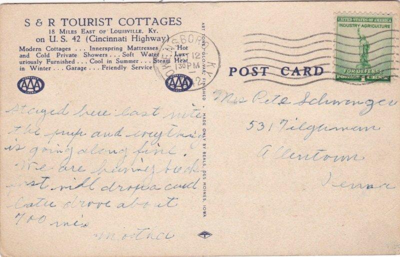 Kentucky Prospect S & R Tourist Cottages 1942 sk1321