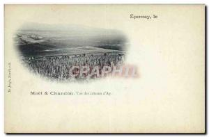 Old Postcard Champagne Moet & Chandon view of the hills & # 39Ay Epernay