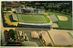 1940s University of Kentucky Stadium Memorial Coliseum Postcard Wildcats Linen