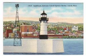 Lighthouse Duluth Superior Minnesota 1941 postcard