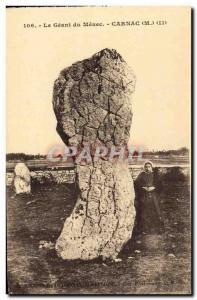 Old Postcard Dolmen Menhir The giant Menec Carnac