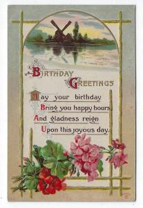 Vintage Birthday Greetings Post Card, A Country Windmill, Pretty Flowers