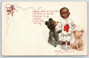 Black Americana~RF Outcault Valentine~Black Boy Buster Brown~Teddy Bear~Dog~1907