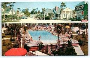 Postcard SC Myrtle Beach Ocean Pines Court Motel 1950's Old Cars Swim Pool R50
