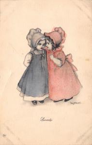 Mary Connell~Secret~Sunbonnet Girls Confide~Lambin 1909~Handcolored Postcard