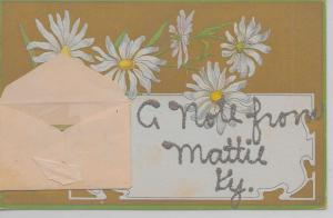 Mattie Kentucky A Note From attached envelope glittered antique pc Z44005