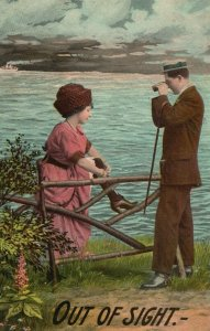 Vintage Postcard 1910's Out of Sight Man & Woman Courting next to Ocean Scene