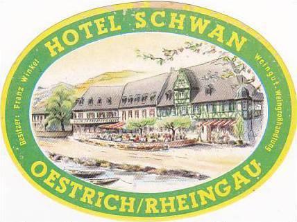 GERMANY OESTRICH RHEINGAU HOTEL SCHWAN HOTEL VINTAGE LUGGAGE LABEL