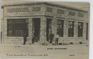 POWERS LAKE, NORTH DAKOTA, FIRST STATE BANK-1916 RPPC REAL PHOTO POSTCARD