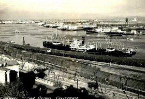 Channel Luckenbach Freighter San Pedro California Vintage Postcard P129