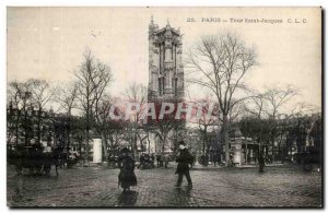 Old Postcard Paris Tour Saint Jacques
