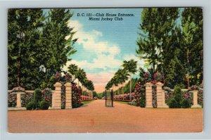 Miami FL, Miami Jockey Club, Club House Entrance, Linen Florida Postcard