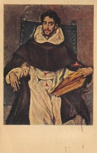 Portrait of Fray Felix Hortensio Palavicine El Greco Art 1952 light postal ma...
