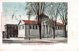 Stickler Memorial Library, Orange, N.J., Very Early Postcard, Used in 1905