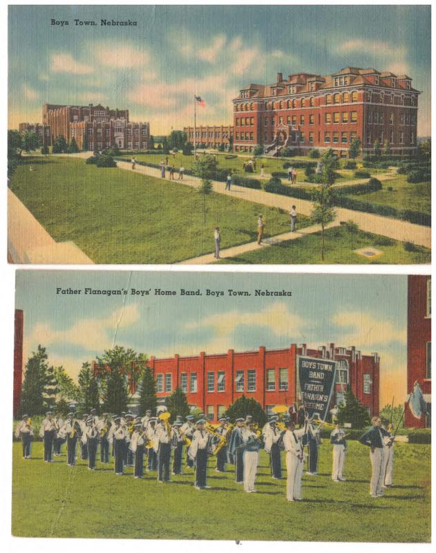 NEBRASKA BOYS TOWN CAMPUS & THE HOME BAND 1942 LOT of 2 POSTCARDS (4)